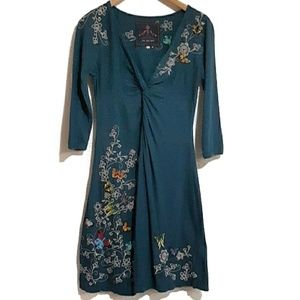 Johnny Was Embroidered Cotton Butterfly Dress S